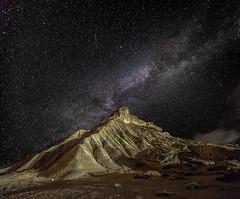 Bardenas Carcava nocturna (martin zalba) Tags: sky landscape star spain desert navarra bardenas