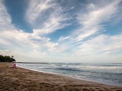Early morning thinking time (hjl) Tags: morning blue sky color beach water clouds landscape hawaii waves waikiki oahu pacificocean s100