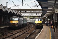 90015 & 90007 Ipswich 31/05/2014 (Flash_3939) Tags: uk station electric train ga one may rail railway locomotive 31 ipswich nationalexpress 2014 90015 class90 colchestercastle 82105 90007 abellio 82139 sirjohnbetjeman locohauled greateranglia 31052014