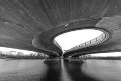 (Svein Nordrum) Tags: bridge blackandwhite bw white black contrast river concrete construction angle bright wide perspective structure form curve 1224mm monomonday