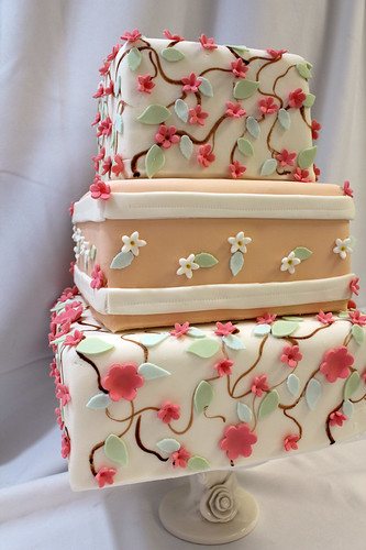Spring Punched Flowers and Painted Branch Wedding Cake