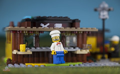 Highway Snacks - Chef (Peter von Kappel) Tags: city water highway lego pizza stop chef sausages rest soda snacks