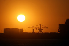 (n_sapiens) Tags: ocean city sunset red sea sun lighthouse building portugal de faro construction warm europa europe do tramonto mare crane horizon porto sphere mirage sole gaia colori orbit oporto univerity universidade vilanova portogallo gru matosinhos caldo orbita oceanographic miraggio caldi