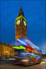 Speeding Westminster Bus (Rodrick Dale) Tags: england lightpainting bus london westminster big time ben