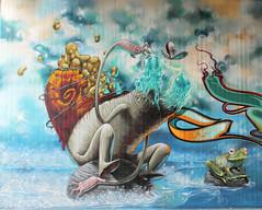 the pixel and the juice (Pixeljuice23) Tags: streetart water germany graffiti wiesbaden swiss snail swamp mainz friendlyfire pixeljuice sailingstones