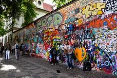 J. Lennon Wall in Prague (Lorena Palma) Tags: wall graffiti nikon europa europe prague praga sing singer czechrepublic johnlennon cantante republicacheca