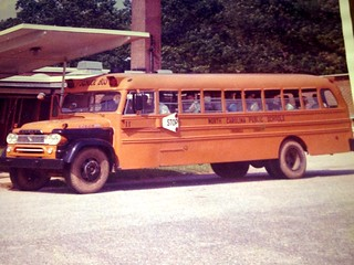 BLUE BIRD SCHOOL BUS, 1960 Dodge, NC.  Omaha Orange.  Digitized from print.