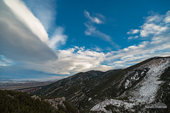 Little Tongue River Canyon (kevin-palmer) Tags: february winter wyoming nikond750 sky clouds sandturn overlook lenticular windy gusty sunset colorful orange blue bighornnationalforest bighornmountains trees evening littletonguerivercanyon irix15mmf24 snow dayton
