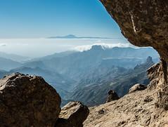 Teide from the Roque Nublo (MikeONeil) Tags: grancanaria tenerife landscape mountain rock roquenublo sea sky blue water island cloud teide