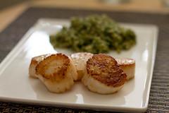 Seared Scallops with Lemon and Vodka and Kale Pesto Farro (Tom Ipri) Tags: scallops chowhound diningin