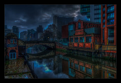 Its Darkest Before Dawn (Kevin, Mr Manchester) Tags: architecture building canon1855mm citycentre england hdr lancashire manchester northwest outdoor photoborder postprocessing riverirwell waterways river