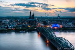 Cologne cityscape in the evening (tim.sharifsoltani) Tags: city cityscape skyline cologne köln kölner dom cathedral hohenzollern hohenzollernbrücke evening golden hour stadt sunset sun germany deutschland rhein rhine river blue kölntriangle deutz hdr sonnenuntergang nikon d7100 nikkor 1024mm