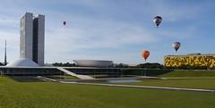 Adrift  .  .  . (ericrstoner) Tags: congressonacional braziliancongress oscarniemeyer niemeyer balloon balão hotairballoon brasília57anos brasília distritofederal grass gramado
