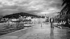 Split, Croatia (pas le matin) Tags: nb bw noiretblanc blackandwhite monochrome city ville candid portrait man people split croatie croatia hrvastka world travel voyage sea mer clouds nuages sky ciel palmtrees palmiers canon 7d canon7d eos7d canoneos7d