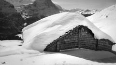 Still winter in the mountains (VandenBerge Photography (this week mostly absent)) Tags: winter landscape lonelyplanet switzerland sky season snow snowscape house barn covered blackandwhite bw mono berneseoberland grindelwaldfirst grindelwald roof