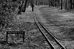 Whistle (Tony Tooth) Tags: nikon d7100 nikkor 55300mm figure enigma enigmatic whistle bw blackandwhite monochrome railway narrowgauge rudyardlake rudyard staffs staffordshire