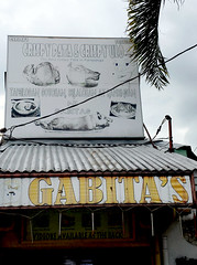 Gabita's (cowyeow) Tags: pork ham bbq food restaurant crispy pata station filipinofood asia asian filipino street odd strange funny sign funnysign angelescity philippines billboard weird ulo old decay urban city composition