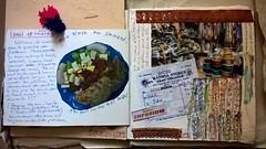 Samedi 18 février 2017. Chronique du jour. Photo du diner. RATHNA Store (photo, collages, croquis), le coin des rubans et galons. (couleur.indigo) Tags: india inde dessin photos croquis carnet pondicherry pondy