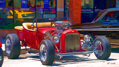 1923 Ford T-Bucket Pickup EXPLORED #159 3/26/17 (Pat Durkin OC) Tags: whittier downtownwhittier carshow hotrod streetrod modelt ford roadster pickup tbucket smallblock red