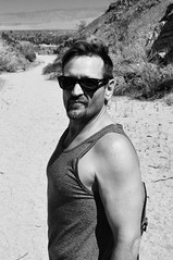 On the Desert Trail (Blue Rave) Tags: bw blackandwhite 2017 bloke dude guy male mate people tanktop goatee nature hike hiking sunglasses rayban wayfarer handsome sexy stud rugged