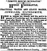 Henry Freemantle, Watchmaker, Trowbridge 1878 (Trowbridge Postcards & Ephemera) Tags: trowbridge wiltshire newspaper advertisement watchmaker