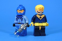Booster Gold and Blue Beetle Update (MrKjito) Tags: lego minifig super hero comic comics booster gold blue beetle decal dc future partners crime ted kord star decals waterslide custom