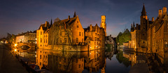 Bruges as night falls (1 of 1) (selvagedavid38) Tags: bruges brugge night city long exposure canal tower water belgium pano belfry bridge