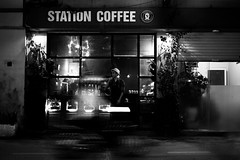 Station Coffee (thirdworldsong) Tags: vietnam coffee station photography black white bw blackandwhite photo travel diary journal memories fujifilm change style hype contrast exposure 35mm night shot photographer blogger portfolio people hanoi vagabond street urban light 365 project