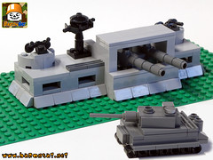 MICRO COASTAL DEFENCE 01 (baronsat) Tags: lego model custom moc military ww2 war toy diorama playset micro tank bunker german allies armored gun cannon panzer nazi us british world