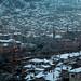 Amasya coberta de neve, ao anoitecer