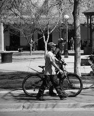 Walk your bike Wednesday (DanJBailey) Tags: santafe nm newmexico travel traveling tourism tourist outside street outdoors history museum church catholicchurch religion sunny spring blackandwhite bw monochrome mono streetphotography