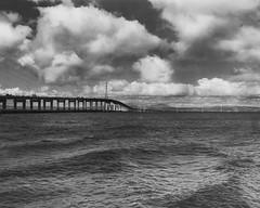 San Mateo Bridge (mattt1970) Tags: crowngraphic fuji150mmf56 ilfordhp5 hc100a largeformat film analog blackandwhite bw bayarea sanfrancisco sanmateobridge clouds