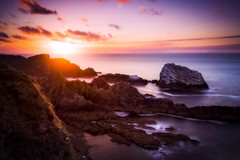 Fond Farewell (Augmented Reality Images (Getty Contributor)) Tags: canon cliffs clouds colours dusk landscape leefilters longexposure morayfirth portknockie rocks scotland sunset water waves