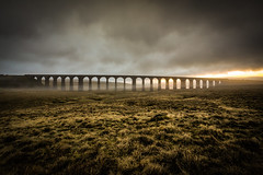 Ribblehead Viaduct (eyecandyclick) Tags: ribblehead northyorkshire ribbleheadviaduct battymoss sunrise clouds dramatic railway landscape earlystart justoneclick outside england saintgeorgesday northwest threepeaks yorkshiredales whernside mist wideanglelens
