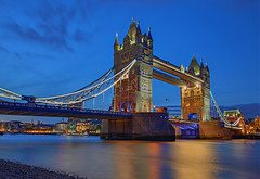 Bridge of Towers (Aubrey Stoll) Tags: tower bridge blue hour water long exposure towers lights bascules thames river reflections stars southwark city london england uk britain tourist attraction crossing stone chains waterway transport smooth silk fine art business commerce