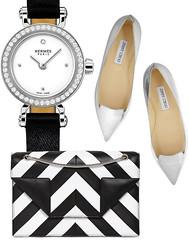 Часы Faubourg Hermès, туфли Jimmy Choo, сумка Saint Laurent