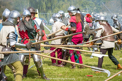 [2014-04-19@15.04.11a] (Untempered Photography) Tags: history costume fight smoke helmet battle medieval weapon sword knight combat armour reenactment skirmish combatant chainmail spear canonef50mmf14 perioddress polearm platearmour gambeson poleweapon mailarmour untemperedeye canoneos5dmkiii untemperedeyephotography glastonburymedievalfayre2014