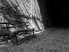 La solitudine di una panchina (Carlo Mirante) Tags: life street shadow blackandwhite bw italy white black love countryside photo italia fuji foto ombre fujifilm moment x20 bolsena lazio borghi tuscia