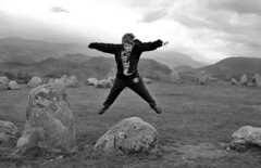 Leap of Faith (Paul Newbon) Tags: blackandwhite mountains rural countryside ancient hills cumbria keswick castlerigg thelakedistrict castleriggstonecircle