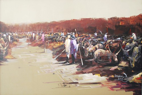 NORMADIC 2012 BY YEMI UTHMAN ACRYLIC ON CANVAS 47X30.5 INCHES. N250,000