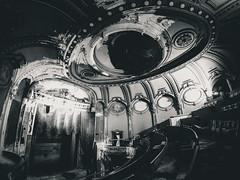 Dark Haze Theater (seikoesquepayne) Tags: urban white black abandoned film haze theater distorted stage olympus warped fisheye faux exploration derelict ep3 urbex f35 75mm
