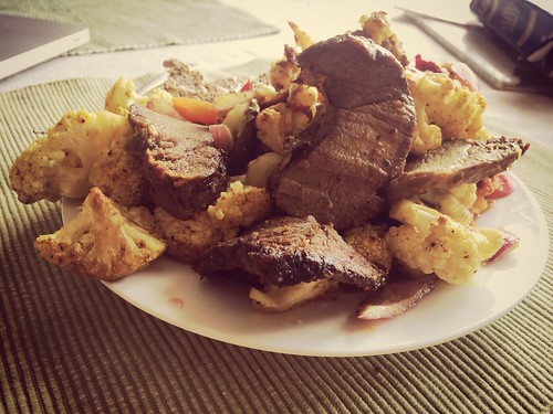 """Steak cauliflower radishes sautéed in mct oil and turmeric for lunch <a style=""""margin-left:10px; font-size:0.8em;"""" href=""""http://www.flickr.com/photos/118228725@N06/14262795356/"""" target=""""_blank"""">@flickr</a>"""