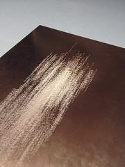 """""""Sin título"""", texto grabado sobre plancha de cobre 35 x 50 cm. Tito Pérez Mora, 2014"""