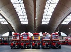 Under the Roof (McTumshie) Tags: england bus london unitedkingdom rt stockwell stockwellbusgarage rt1702 yotb kyy529 rtl453 klb648 rtl1163 kgk803 rtl139 rtl1076 luc253 yearofthebus stockwellbusgarageopenday 21june2014