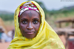 Woman With Yellow Shawl (Irene Becker) Tags: africa portrait tattoo muslim islam portra