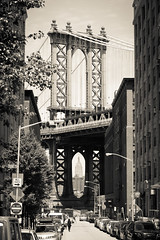 Under the Bridge (Andrew Rhodes Photography) Tags: nyc newyorkcity newyork brooklyn blackwhite unitedstates manhattanbridge empirestatebuilding andrewrhodes nycphotography newyorkcityphotography manhattanbridgefrombrooklyn andrewrhodesphotography manhattanbridgephotograph empirestatebuildingthroughmanhattanbridge