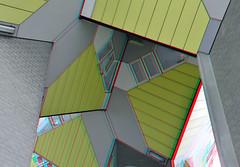 kubus-woningen Rotterdam 3D (wim hoppenbrouwers) Tags: 3d rotterdam blaak anaglyph stereo kubuswoningen pietblom redcyan