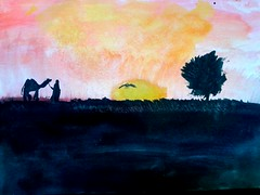 2 minute Africa (baerje) Tags: africa sonnenuntergang drawing camel afrika kamel aquarell sungoesdown