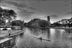 The sculler, Stratford-upon-Avon (alanhitchcock49) Tags: white black june club digital photography royal shakespeare visit and 17 hdr stratforduponavon the 2014 sculler webheath
