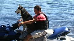 John & DD (Schnauzergal) Tags: dog lake canada husky muskoka fujifinepix seadoo